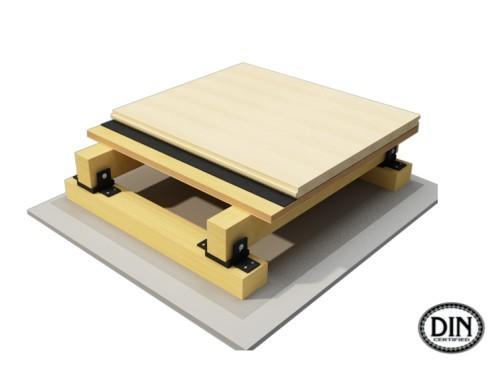 双龙骨运动木地板系统优越性主要体现在其使用的材料